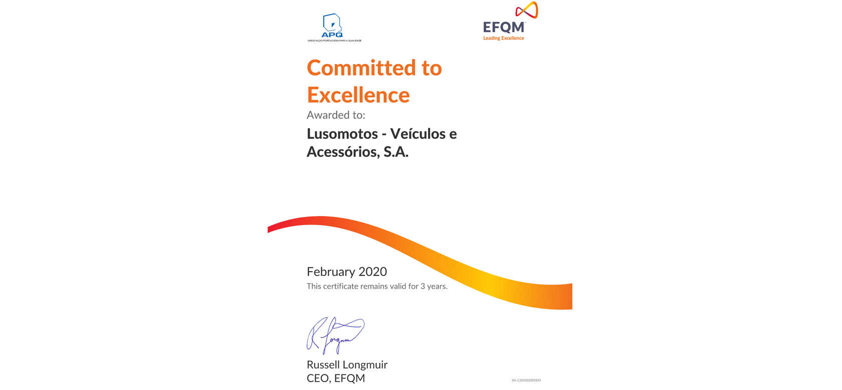 Reconhecimento EFQM – Committed to Excellence 1