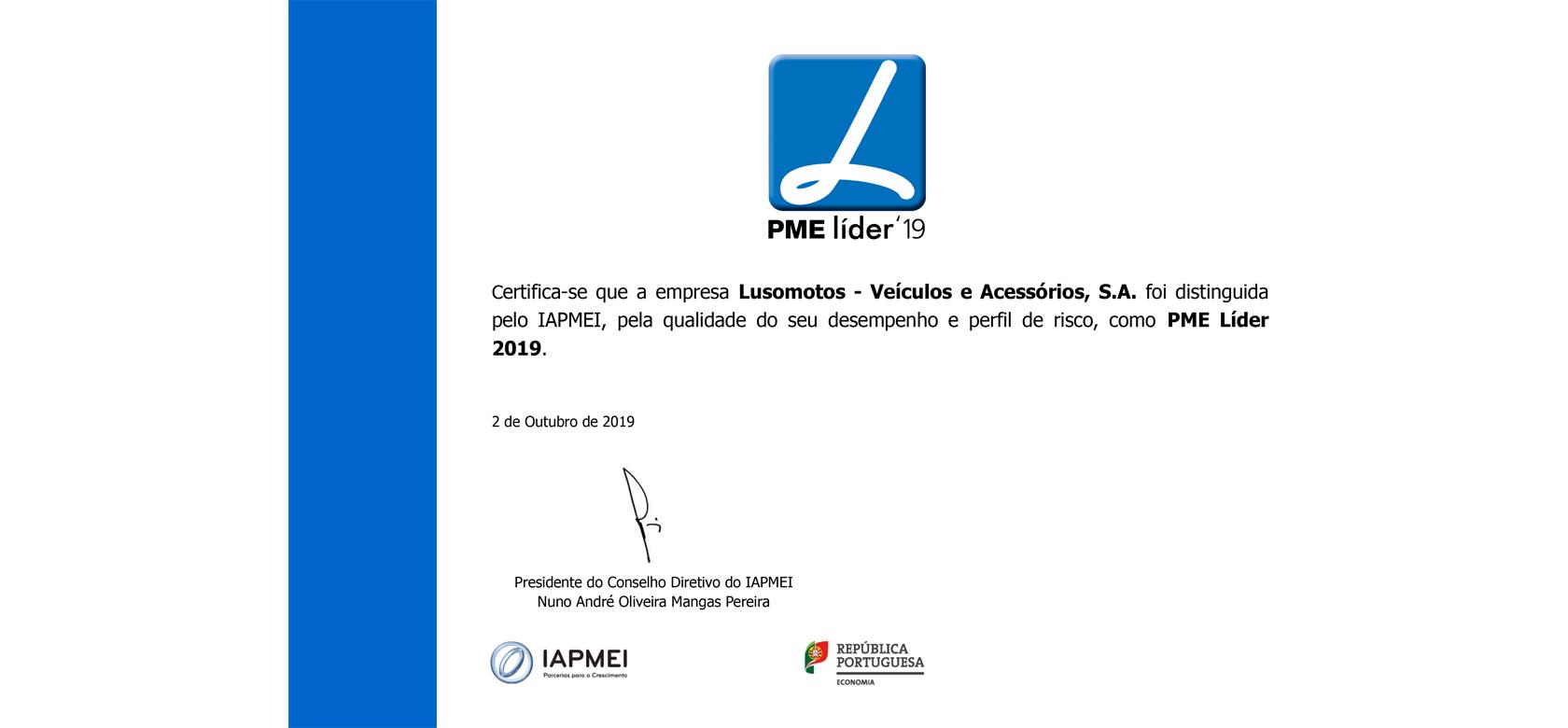 Lusomotos premiada com o Estatuto PME Líder 2019 1